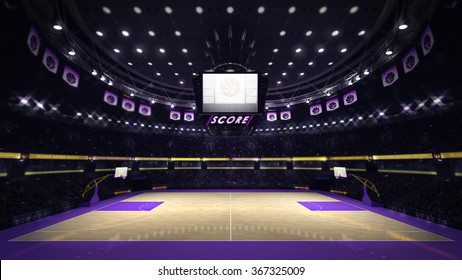 illuminated basketball court with spectators and spotlights, sport topic arena interior illustration