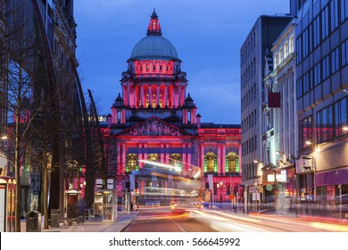 Illuminated Belfast City Hall at evening. Belfast, Northern Ireland, United Kingdom.