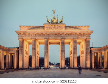 the illuminated brandenburg gate (Brandenburger Tor) at evening, berlin, germany, europe, Vintage filtered style