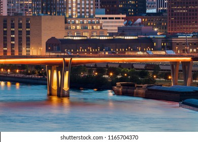 Illuminated bridge in St. Paul. St. Paul, Minnesota, USA.