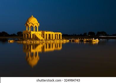 Illuminated building at Gadsisar Lake, Jaisalmer, Rajastan, India