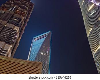 illuminated buildings in shanghai china