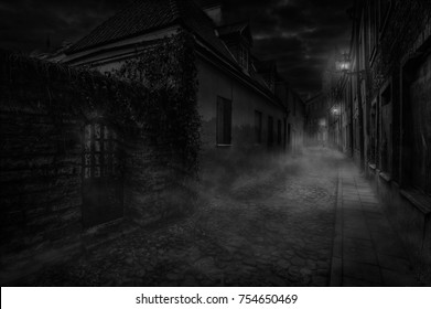 Illuminated by wall lamps, a foggy alley is sleeping