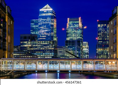 Illuminated Canary Wharf, financial hub in London in the evening