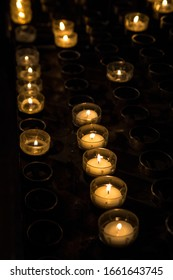 Illuminated candles in Cologne Cathedral, Germany.