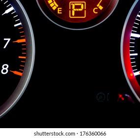 Illuminated car dashboard, instrument panel