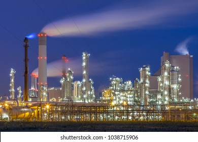 Illuminated chemical plant at Maasvlakte Europoort Rotterdam industrial harbor area