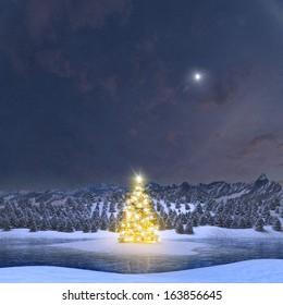 Illuminated Christmas tree in Alpine winter landscape