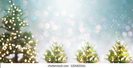 Illuminated Christmas trees in a snowy day