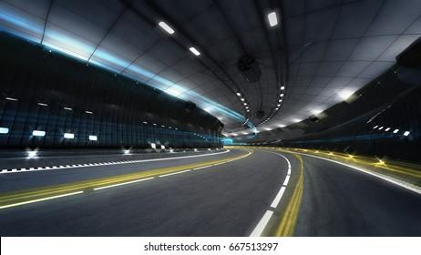 illuminated city highway tunnel with spotlights, transportation theme 3D illustration rendering