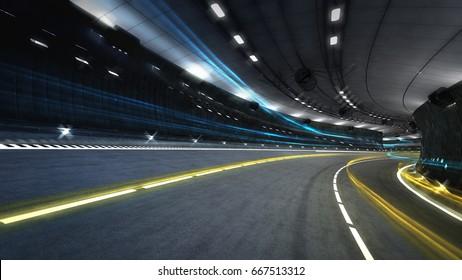 illuminated city road tunnel with spotlights, transportation theme 3D illustration rendering