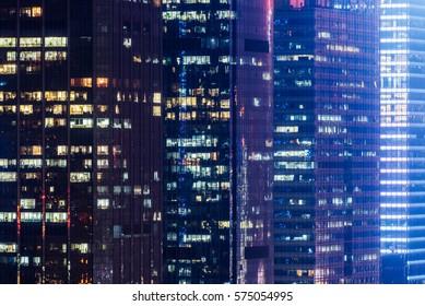 illuminated cityscape at night in Shanghai,China.
