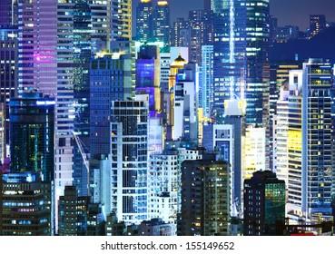 illuminated corporate building