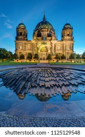 The illuminated Dome in Berlin, Germany, just before sunrise