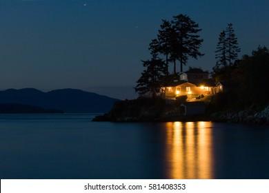 Illuminated eco house on Pacific coast, Washington state