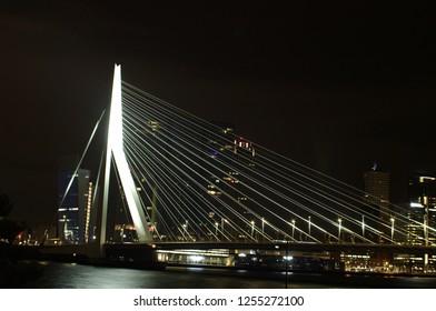 the illuminated Erasmusbridge in Rotterdam