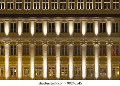 Illuminated facade in Munich, Germany, at night
