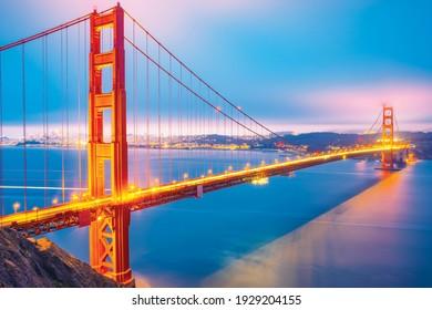 Illuminated famous Golden Gate Bridge, San Francisco at night, USA