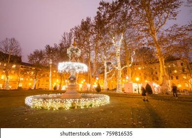 Illuminated fountain in Zrinjevac park, Zagreb, Croatia, Advent, Christmas market