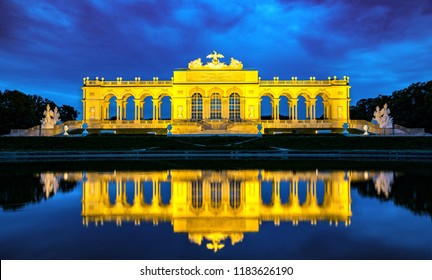 Illuminated Gloriette in Schönbrunn at night, vienna