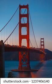 Illuminated Golden Gate Bridge by night