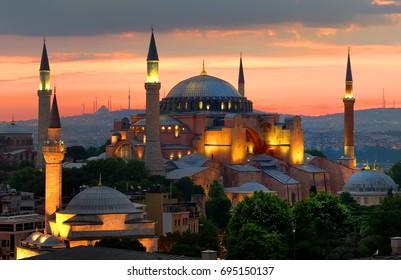 Illuminated Hagia Sophia and beautiful sunset in Istanbul, Turkey
