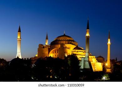Illuminated Hagia Sophia with Blue Sky at Night Fall, Old City of Istanbul, Turkey