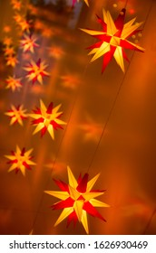 Illuminated Herrnhut stars. Traditional christmas decoration in Saxony, Germany