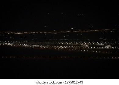 Illuminated Highway close to Dubai in the UAE in dark night