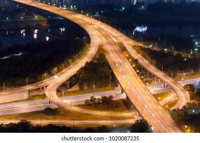 illuminated highway intersection at night. Vienna, Austria