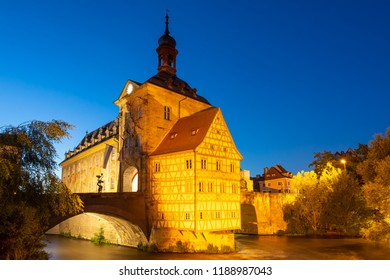 Illuminated historic town hall of Bamberg, built in the 14th century.