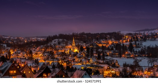 Illuminated houses in Seiffen at Christmastime. Saxony Germany