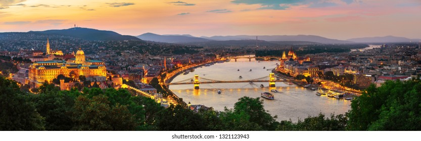 Illuminated Hungarian capital city in summer evening