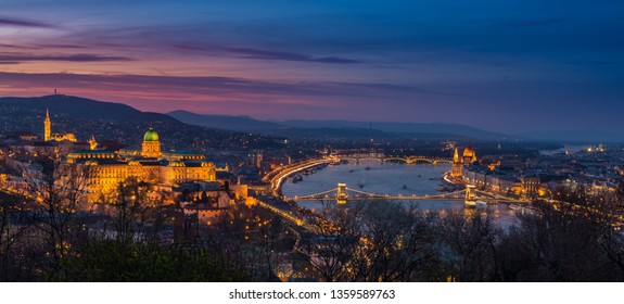Illuminated Hungarian capital city in sunset - Buda Castle-panorama