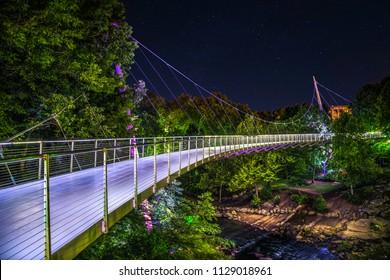 Illuminated Liberty Bridge in Falls Park in Downtown Greenville South Carolina SC
