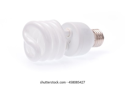 Illuminated light bulb isolated on white background
