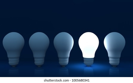 Illuminated light bulb in a row of dim ones concept for creativity, innovation and solution. 3D illustration