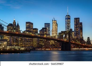 Illuminated Lower Manhattan with Brooklyn Bridge, New York City, United States of America