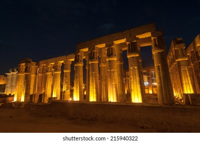 Illuminated Luxor Temple. The Peristyle Court of Amenhotep III and Hypostyle Hall of Egypt.