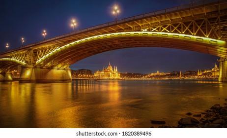 Illuminated Margaret Bridge in the evening