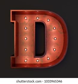 Illuminated marquee light bulb letter D