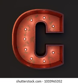Illuminated marquee light bulb letter C