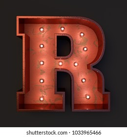 Illuminated marquee light bulb letter R