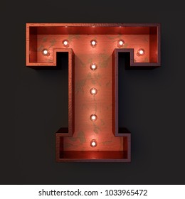 Illuminated marquee light bulb letter T
