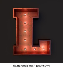 Illuminated marquee light bulb letter L