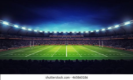 illuminated modern rugby stadium with spectators and green grass, sport theme three dimensional 3D illustration