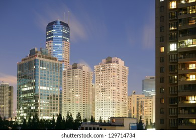 Illuminated modern Shanghai by night. Typical buildings for Changning district. High definition photo.