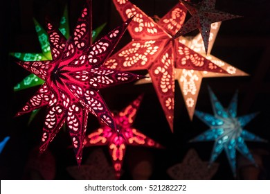 Illuminated moravian Christmas stars in amazing colors