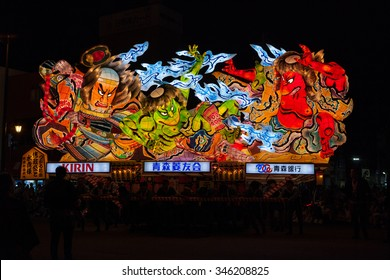 Illuminated Nebuta float parade through the night in Aomori Nebuta Matsuri, Japanese summer festival at Aomori city, Japan on August 5, 2015.
