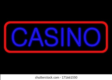 Illuminated Neon sign with blue Letters and red frame showing casino isolated on black background